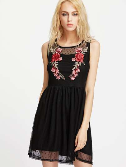 Dobby Mesh Embroidered 2 In 1 Tank Dress