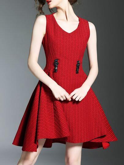 Red V Neck Jacquard A-Line Dress