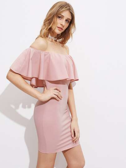 Flounce Trim Off Shoulder Dress