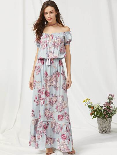 Tassel Tie Neck Lace Insert Frill Hem Blouson Dress