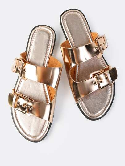 Metallic Double Buckle Slides ROSE GOLD