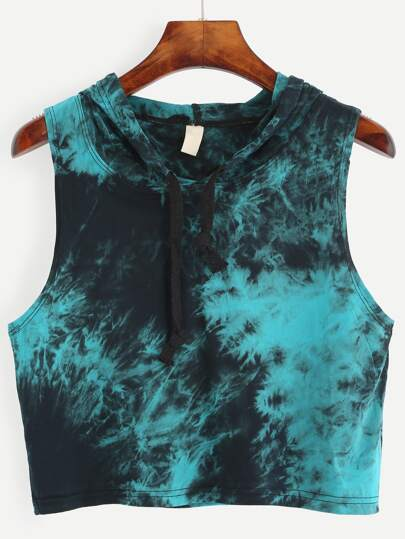 Tie Dye Print Hooded Crop Top