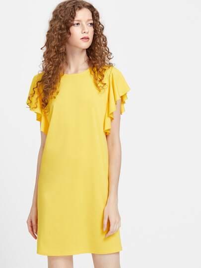 Flutter Cap Sleeve Tunic Dress