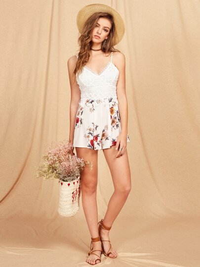 Lace Overlay Box Pleated Cami Romper