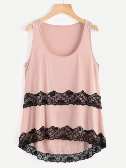 Contrast Lace Embellished Dip Hem Scoop Tank Top