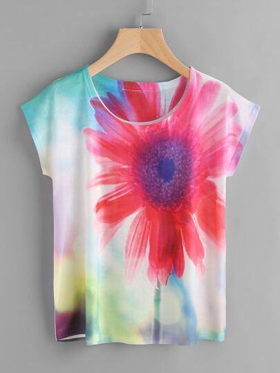 Tee-shirt imprimé des fleurs manche cap
