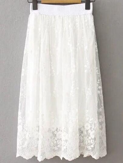 Lace Overlay Elastic Waist Skirt