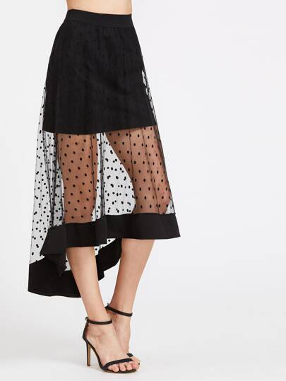 Textured Dots High Low Mesh Skirt