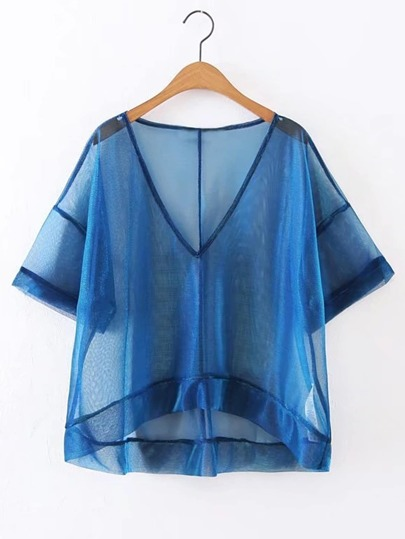 V-Neckline High Low Sheer Top