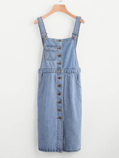 Bleached Single Breasted Denim Overall Dress With Pockets