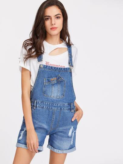 Ripped Rolled Hem Denim Overall Shorts