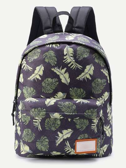 Patch Detail Leaf Print Backpack