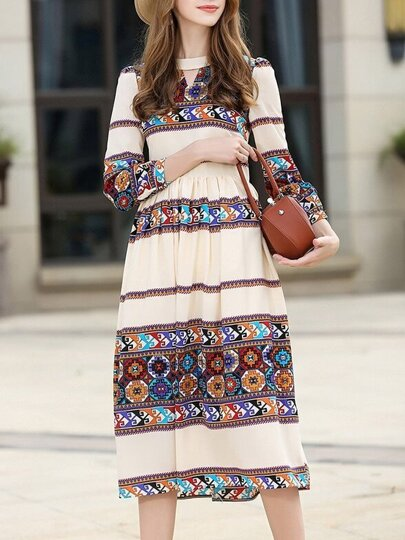 Tribal Print Pleated Long Dress