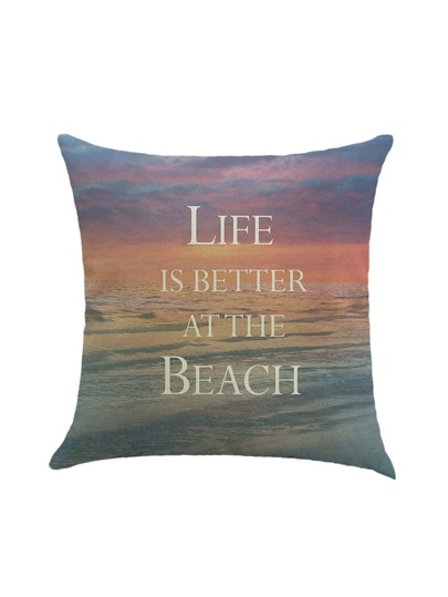 Beach Print Pillow Case Cover
