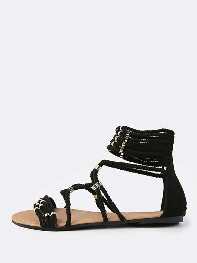 Multi Threaded Gold Ring Sandals BLACK