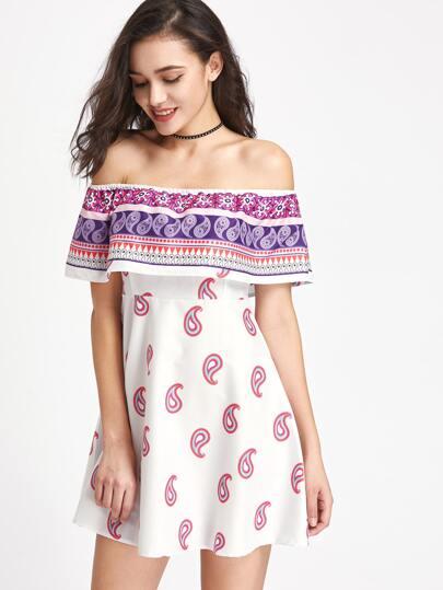 Flounce Layered Neckline Paisley Print Dress
