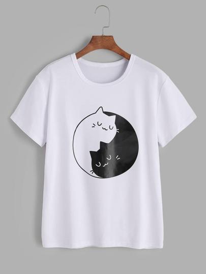 T-shirt con la stampa gatto