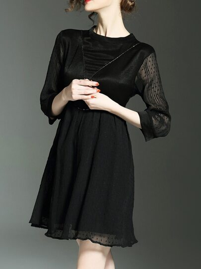 Black Pleated Hollow A-Line Dress