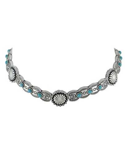 Silver Turquoise Metal Choker Necklaces
