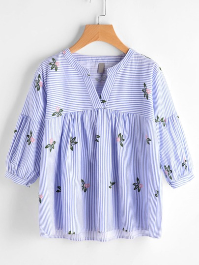 V Ausschnitt Blumendruck Striped Smock Bluse