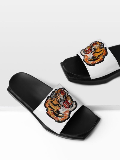 Tiger Embroidery PU Flatform Sandals