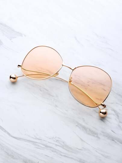 Ball Detail Curved Frame Sunglasses