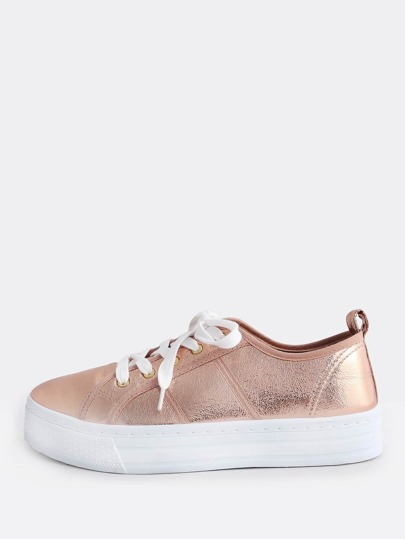 Metallic Flatform Lace Up Sneakers ROSE GOLD