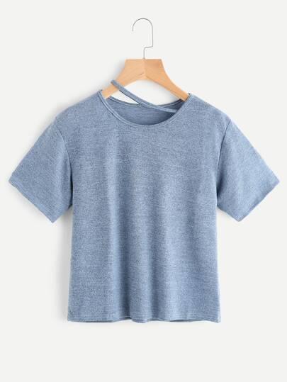 Camiseta de tinte espacial de cuello con abertura