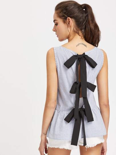 Split Bow Tie Back Mixed Stripe Top