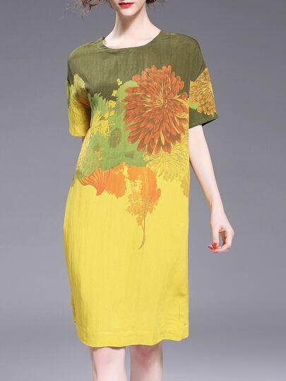 Vestido con estampado de flores de color combinado