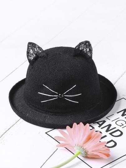 Sombrero con estampado con oreja de gato