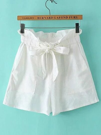 High Waist Shorts With Self Tie