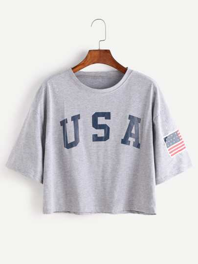 Je shirt avec imprimé par lettre tombé épaule - gris