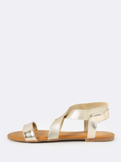 Metallic Cross Elastic Sandals GOLD