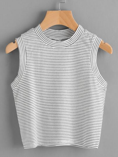 Pinstripe Crop Tank Top