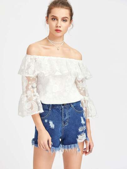 Flounce Bardot Neck Trumpet Sleeve Embroidered Organza Top