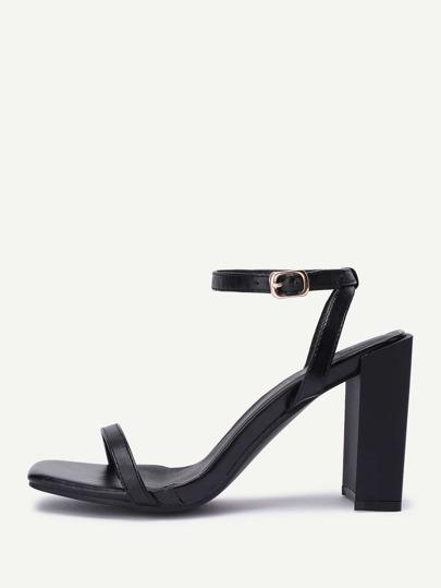 Sandalias de tacón grueso en dos partes de pu