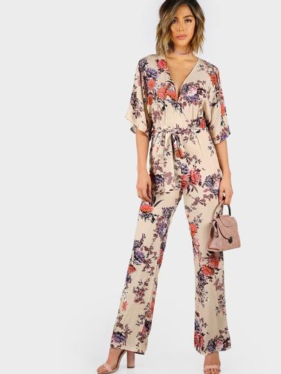 Floral Print Waist Tie Jumpsuit TAN