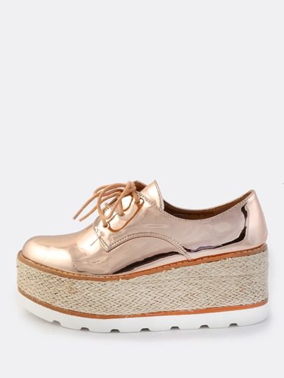 Oxford Lace Metallic Flatforms ROSE GOLD