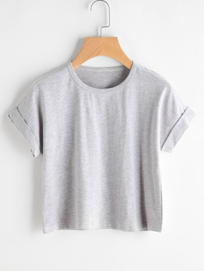 Cuffed Slub T-Shirt