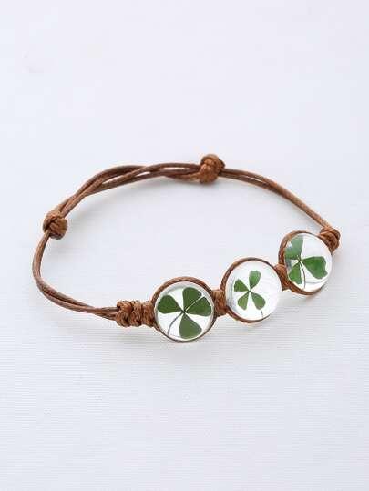 Clover Glass Stone Weave Link Bracelet