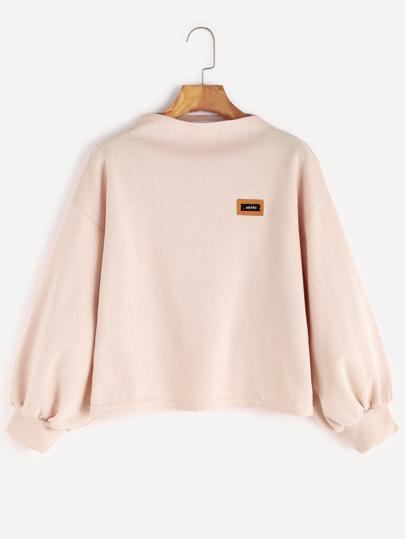 Sweat-shirt en entonnoir avec manche de lanterne -abricot
