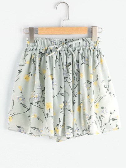 Ditsy Print Pleated Shorts With Drawstring Waist