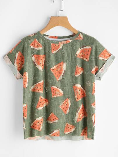 Watermelon Print Cuffed Sleeve Frayed Dot Tee