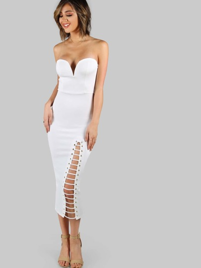 Strapless Plunge Strappy Leg Midi Dress IVORY