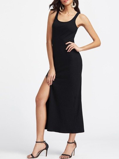 Double Scoop High Slit Ribbed Tank Dress