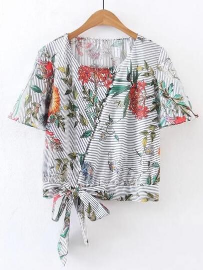 Short Sleeve Floral Tie Waist Top