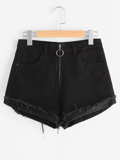 Exposed Zip Fly Frayed Cuffed Denim Shorts