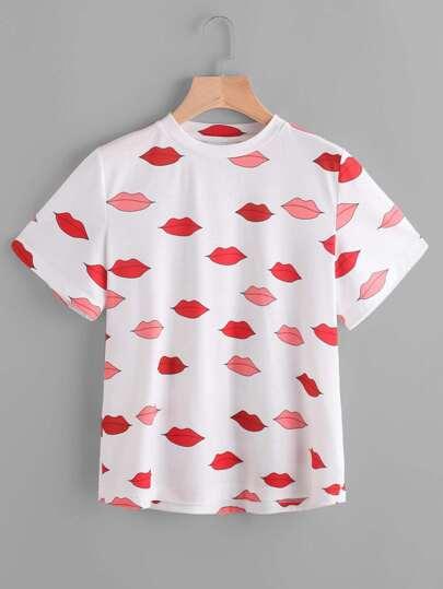 T-shirt con stampa di labbra rosse