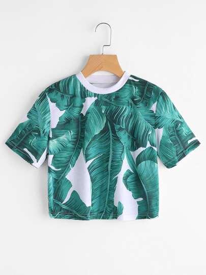 Camiseta corta estampada de hojas